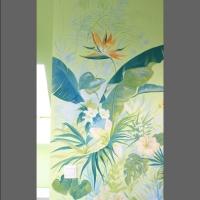 mural- egzotyczne kwiaty