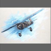 mural na domu- samolot