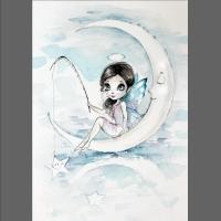 akwarela- anioł stróż
