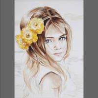 portret dziewczynki - akwarela