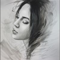 portret czarno-biały akwarela
