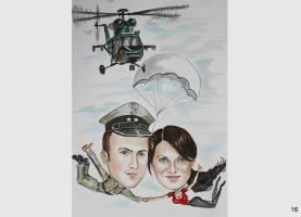 karykatura na spadochronie
