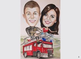 karykatura dla chłopaka strażaka