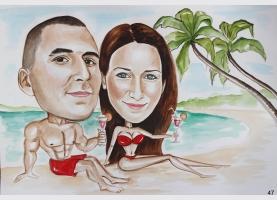 karykatura na plaży