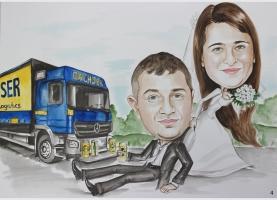 Karykatura ślubna dla kierowcy tira