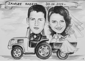 Karykatura ślubna na traktorze