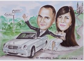 zabawna karykatura ślubna
