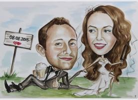 zabawna karykatura na ślub