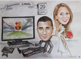 karykatura- prezent ślubny