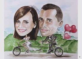 karykatura ślubna na rowerze