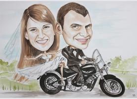Karykatura ślubna na motorze