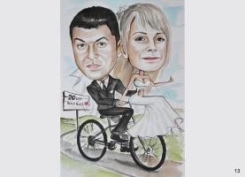 karykatura ślubna dla rowerzysty