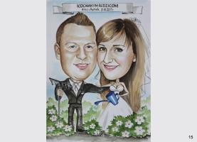 Karykatura na ślub w ogrodzie