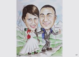 karykatura ślubna w górach