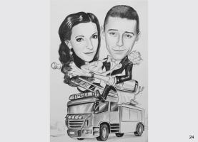 karykatura ślubna dla strażaka