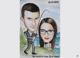 karykatura ślubna dla wędkarza