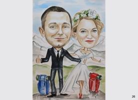 karykatura ślubna dla górołaza