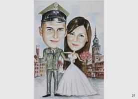 elegancka karykatura  ślubna