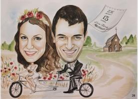 karykatura ślubna na tandemie