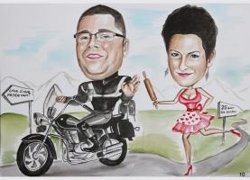 karykatura dla motocyklisty na rocznicę
