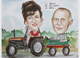 karykatura na traktorze