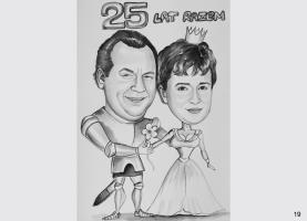 karykatura pary na rocznicę