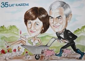karykatura dla żony na rocznicę