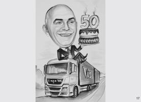 karykatura dla kierowcy ciężarówki