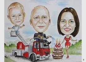 karykatura na urodziny dla strażaka