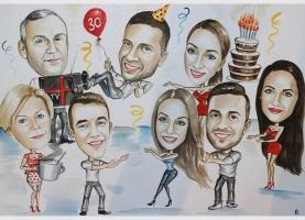 karykatura urodzinowa od rodziny