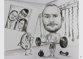 karykatura na siłowni , na urodziny