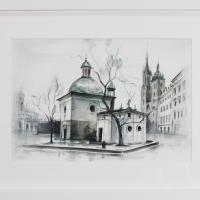 akwarela- kościół św. Wojciecha w Krakowie