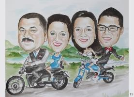 Karykatura dla rodziców na motorze