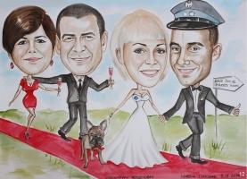Karykatura dla rodziców w dniu ślubu