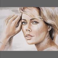 portret kobiety malowany akwarelą