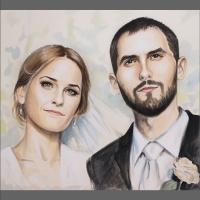 portret ślubny akwarela