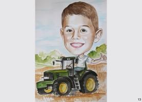 karykatura chłopca na traktorze
