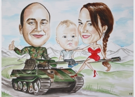 karykatura rodzinna na czołgu