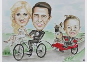 karykatura rodzinna, ślubna