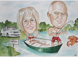 karykatura nad jeziorem